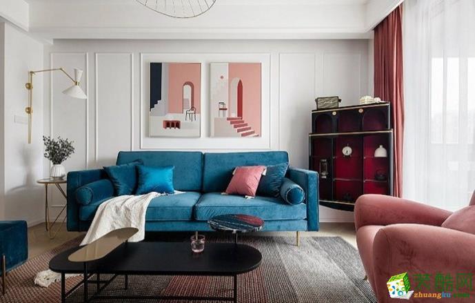 六安128�O三室轻奢风格装修效果图-八方门装饰