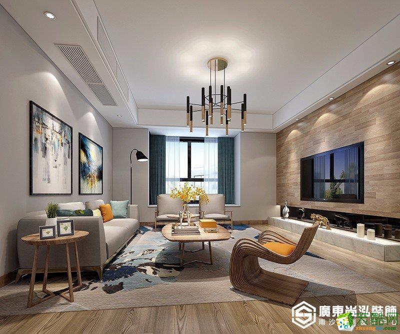广州90平米现代风格两居室装修效果图