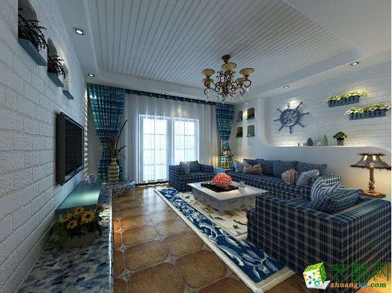 地中海風格二居室97平裝修效果圖