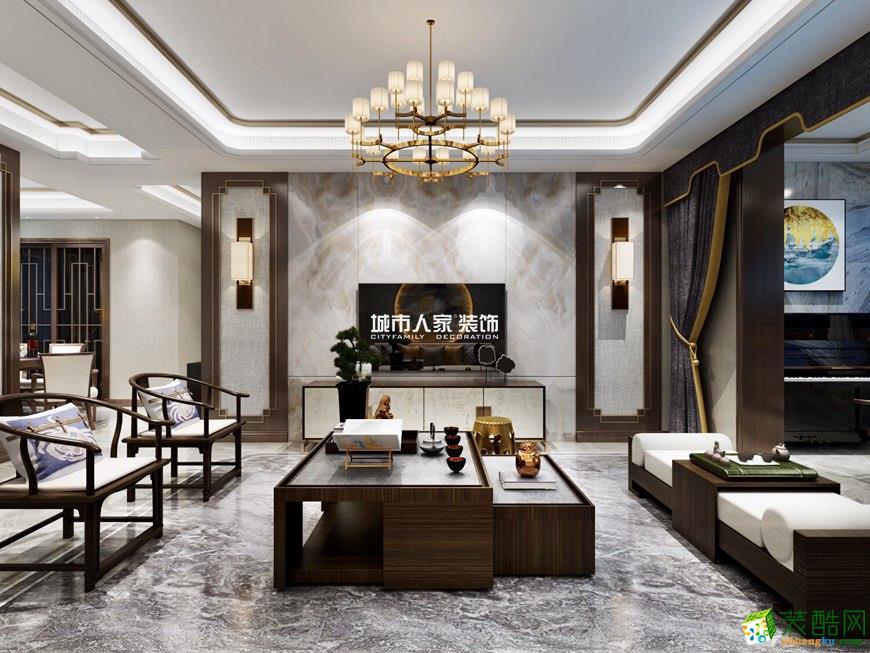 西安中贸广场-140平米新中式风格四室两厅两卫装修效果图片
