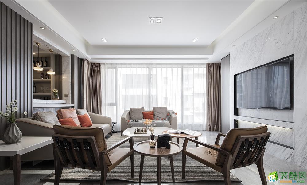 南寧138平三室兩廳現代風格裝修效果圖
