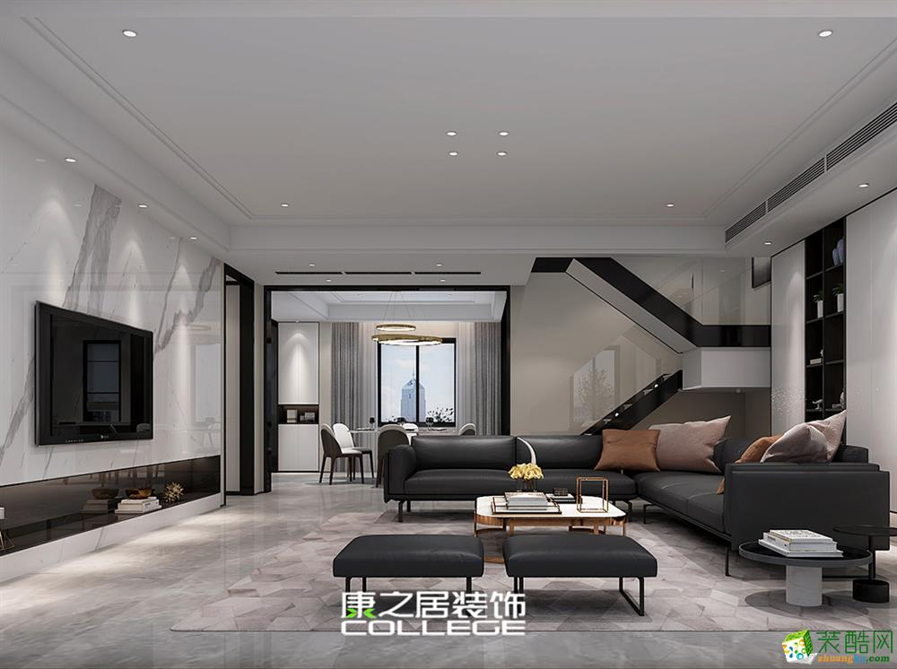 恒大金碧華府141平米歐式四房裝修家居設計案例效果圖