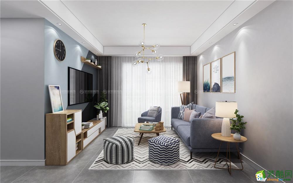 中航樾公馆102平三室一厅北欧风格设计案例