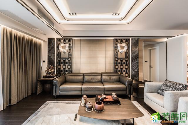 世茂滨江花园别墅200平米新中式风格三室两厅装修案例