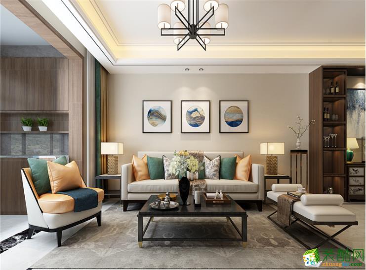 六安110平三室新中式风格装修效果图-领途装饰