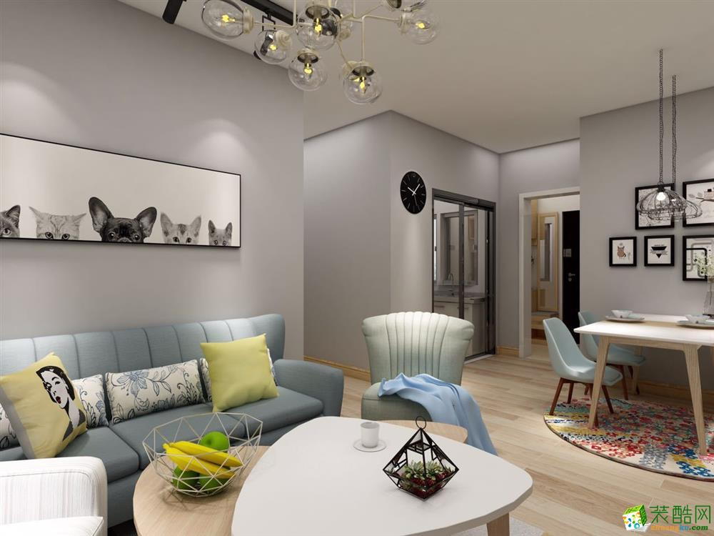北欧风格二居室106平装修案例图