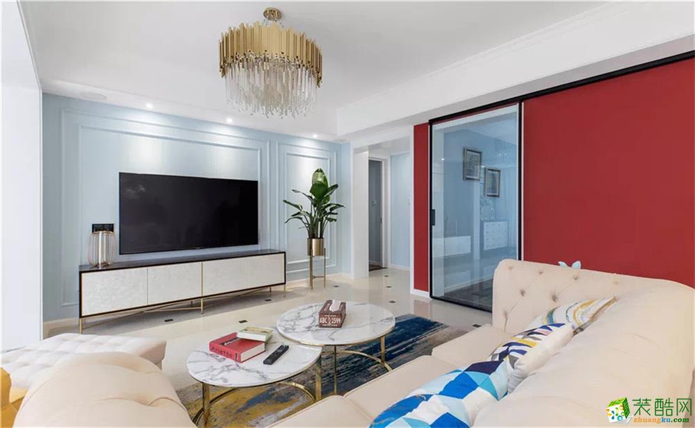 合肥140平轻奢美式三居,红黄蓝碰撞出优雅大气、高品位生活空间!