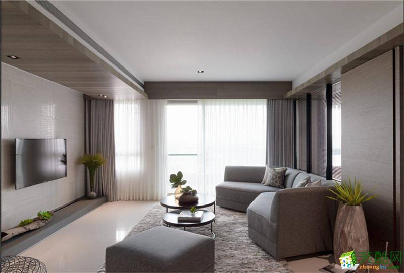 现代简约二居室90平装修案例图