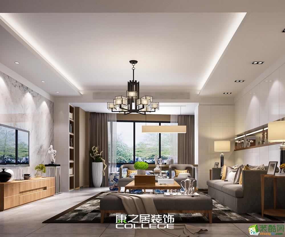 华润紫云府117平现代四居室装修案例效果图