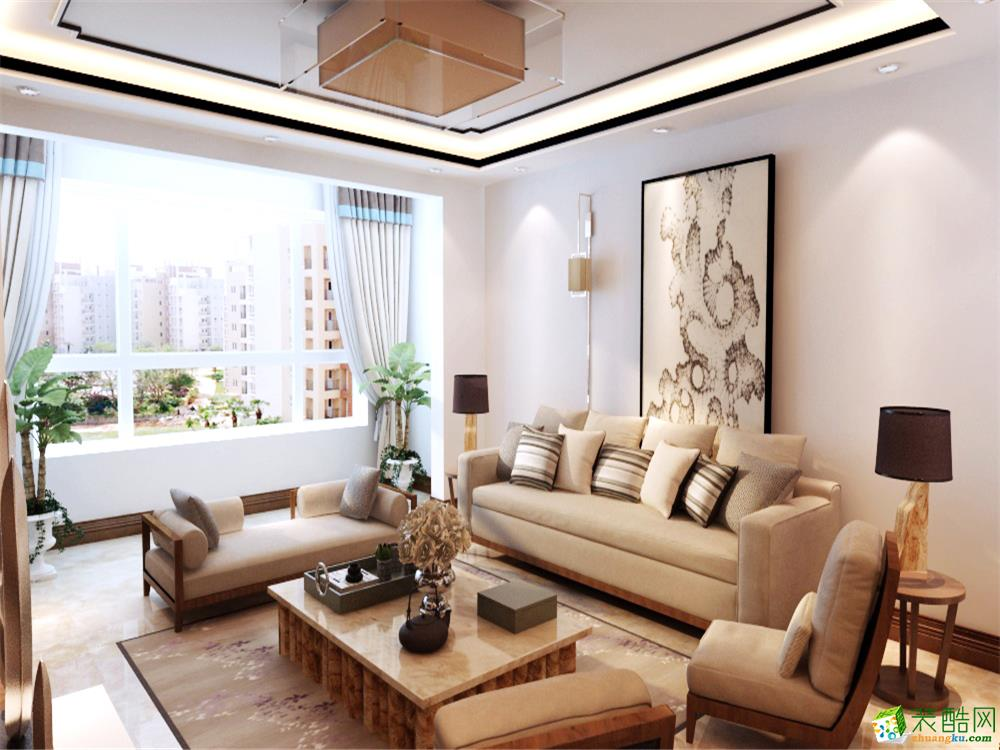 現代中式風格三居室129平裝修效果圖