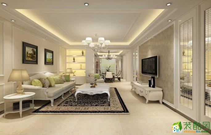 常州126平三室现代简约风格装修效果图-啄木鸟装饰