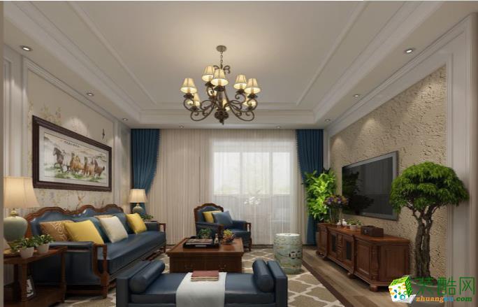 常州110平三室简美风格装修效果图-啄木鸟装饰