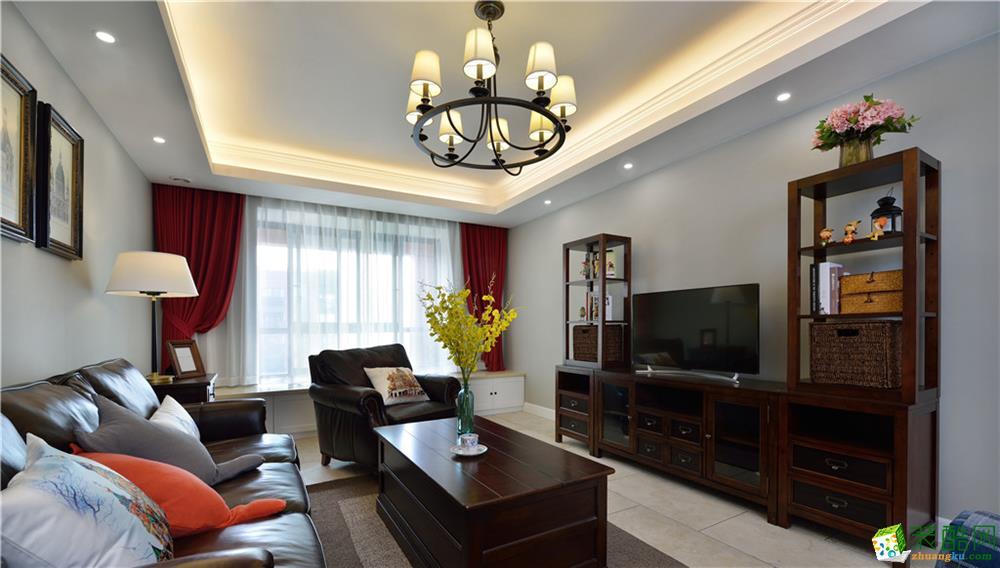 西安双府新天地-140平米美式风格三室两厅装修效果图片