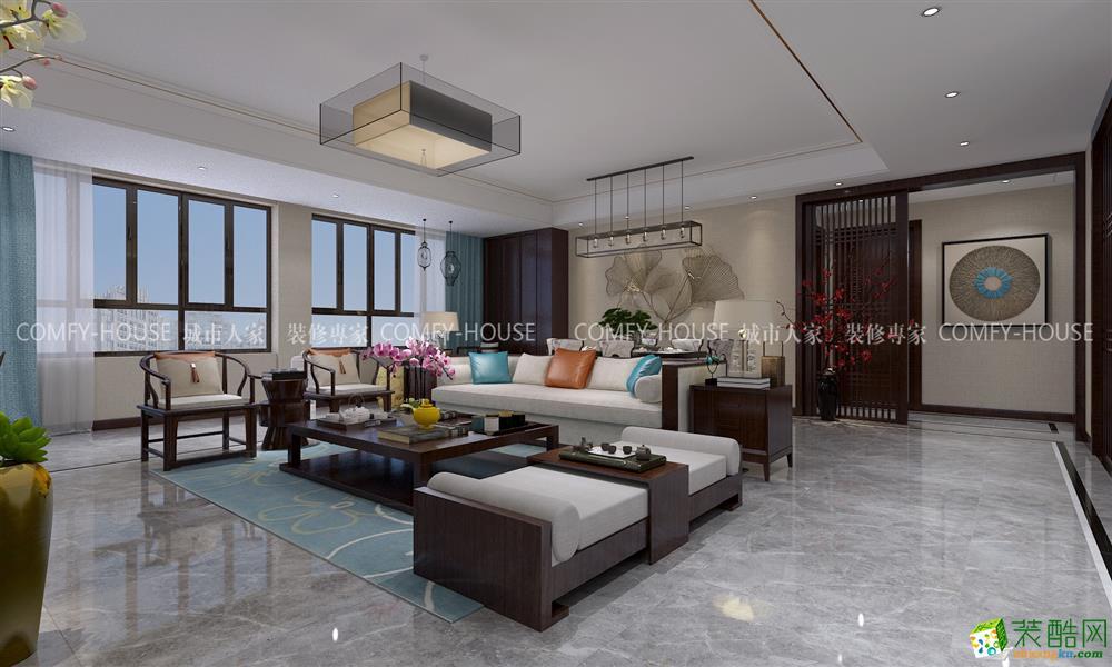 济南海尔云世界天玺-170平米中式风格四室两厅两卫装修效果图片