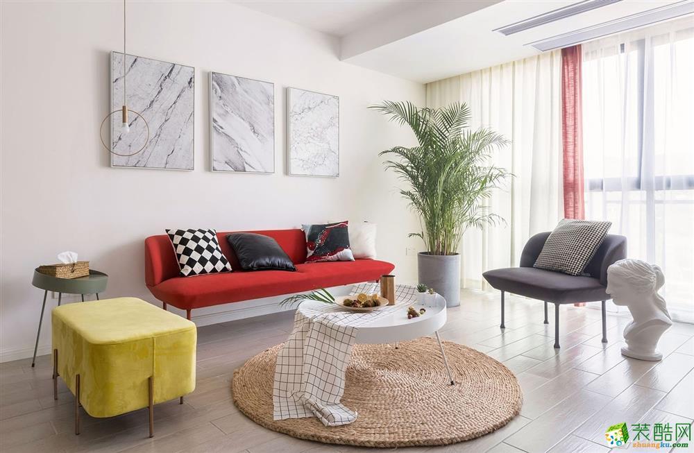 北欧风格110平三居室装修效果图