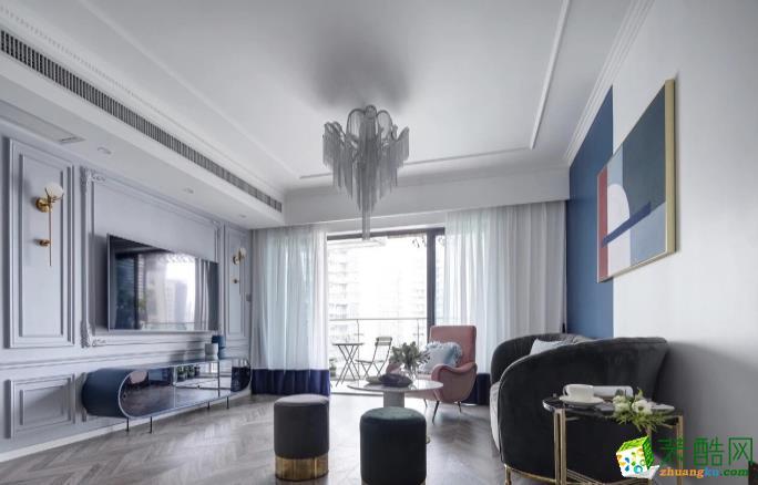 六安123平三室轻奢风装修效果图-山水装饰