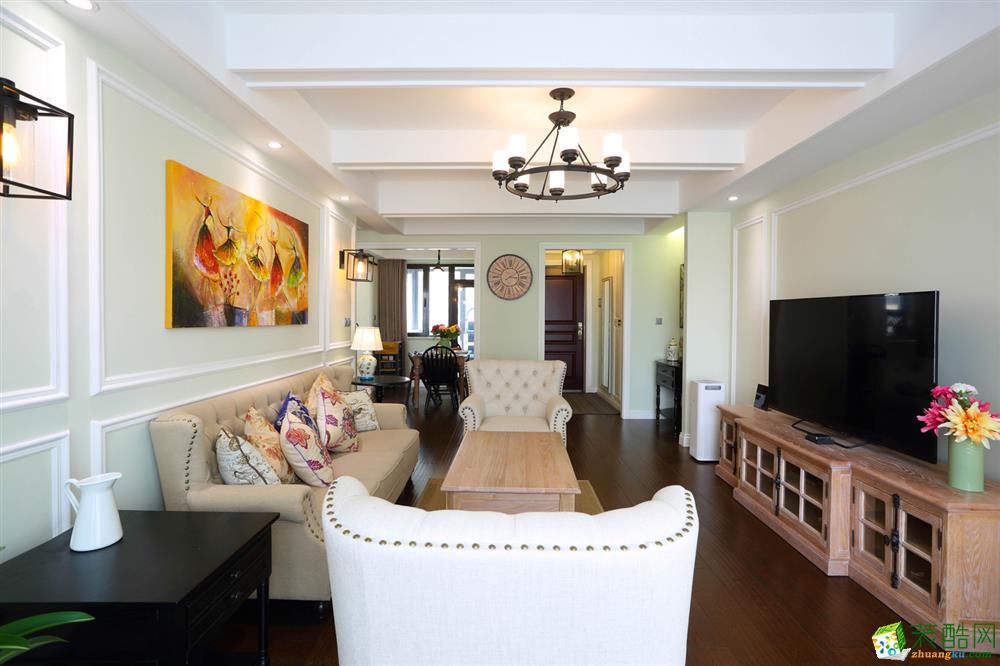 成都129平米美式风格三室两厅装修效果图