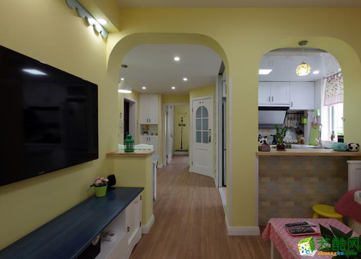 【建品装饰】巴国龙庭96平米田园风格三居室装修案例图