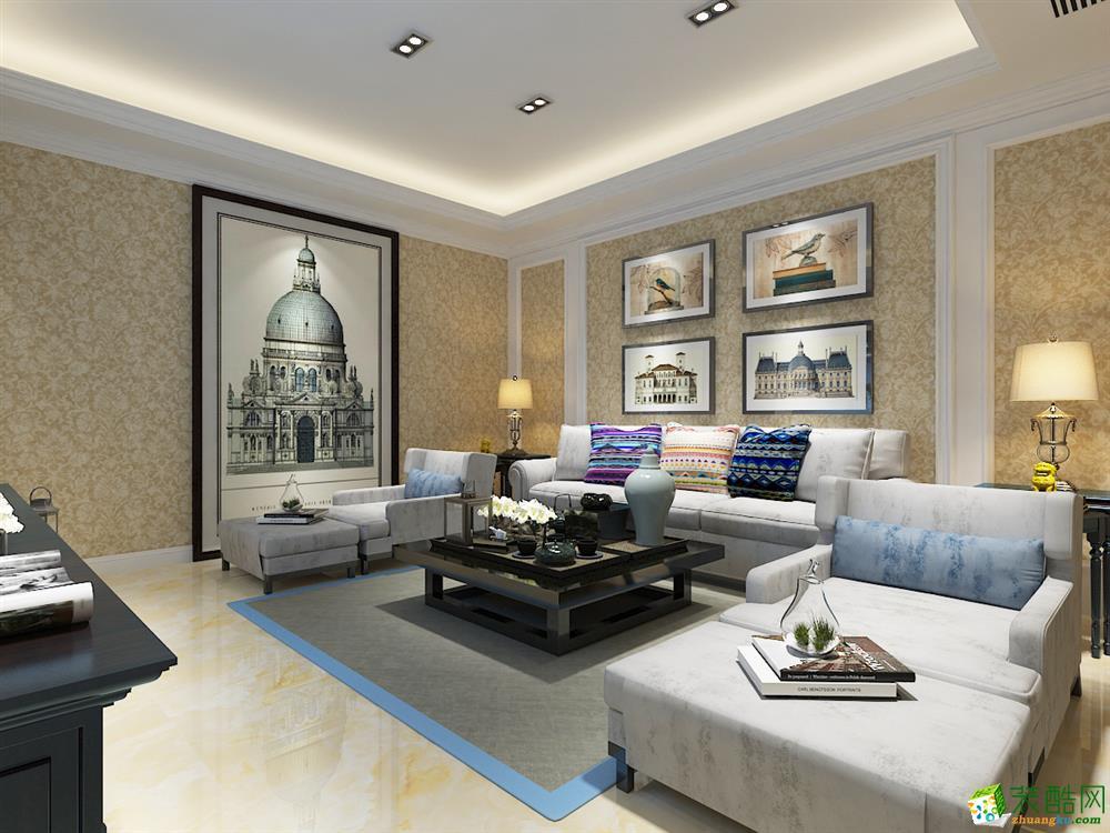 青岛115平米欧式风格三室两厅装修效果图