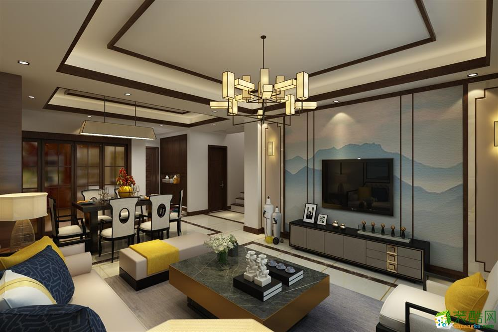 青岛140平米新中式风格三居室装修效果图