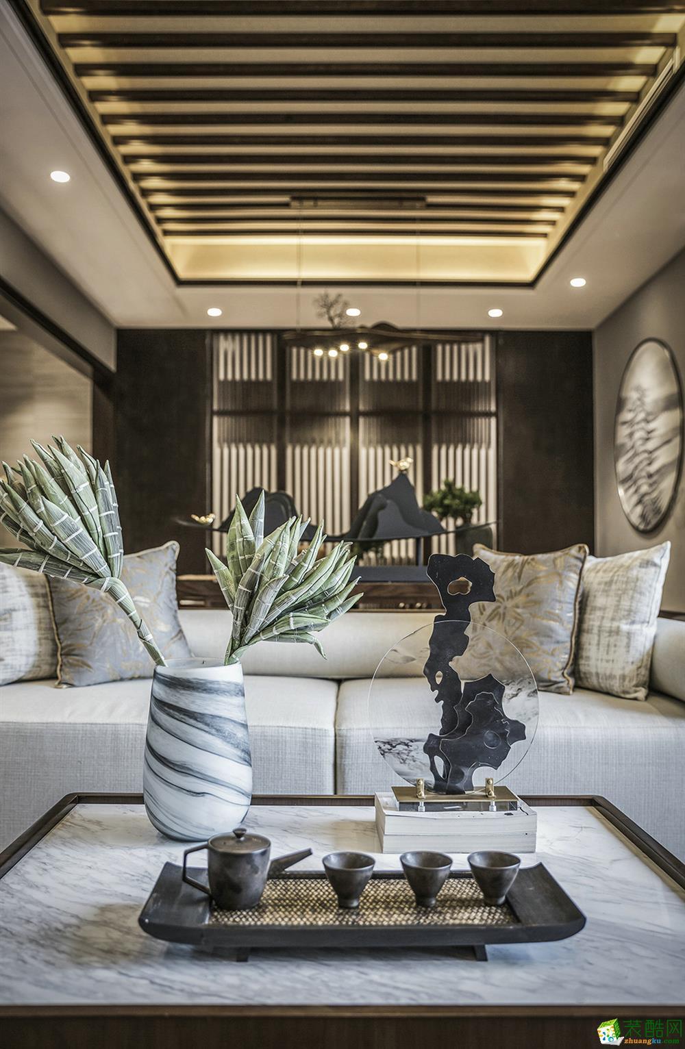 沈阳琥珀湾别墅245平四室中式风格装修效果图