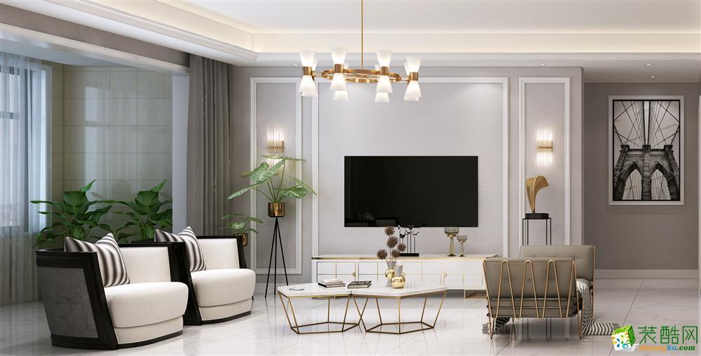 西安群贤道九号130�O现代美式风格三室两厅两卫装修效果图片