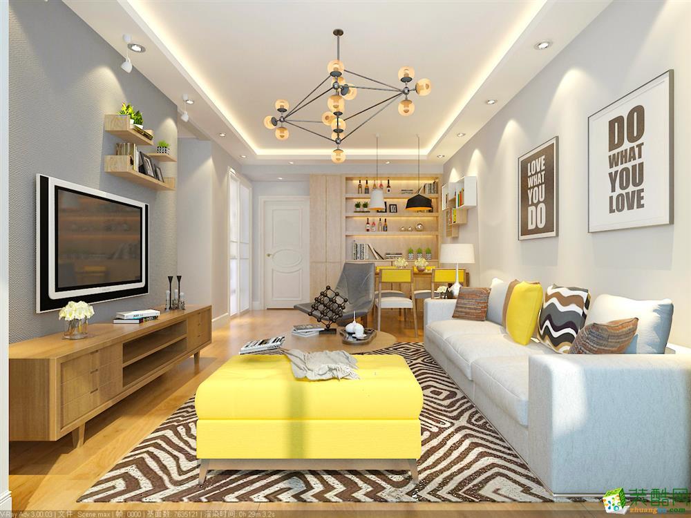 青岛96平米北欧风格三室两厅装修效果图
