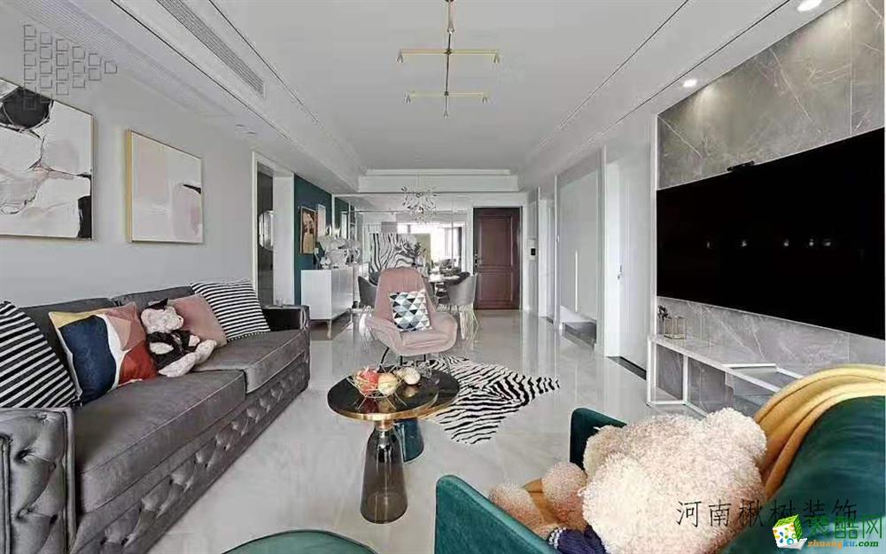 郑州朝阳御景85平美式现代风格装修效果图