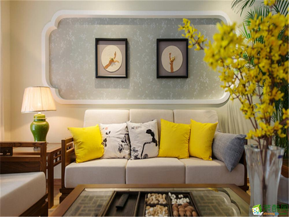 青岛107平米新中式风格三室两厅装修效果图