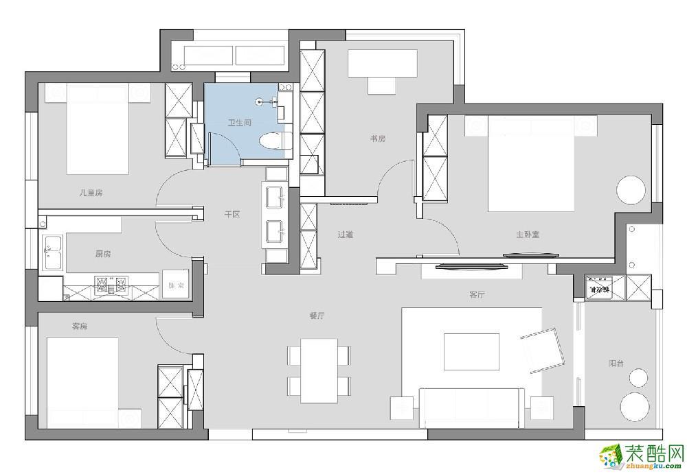 杭州138㎡四室兩廳簡約風格裝修設計效果圖