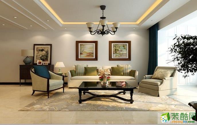 九江125㎡三室簡約美式風格裝修效果圖-我愛我家裝飾
