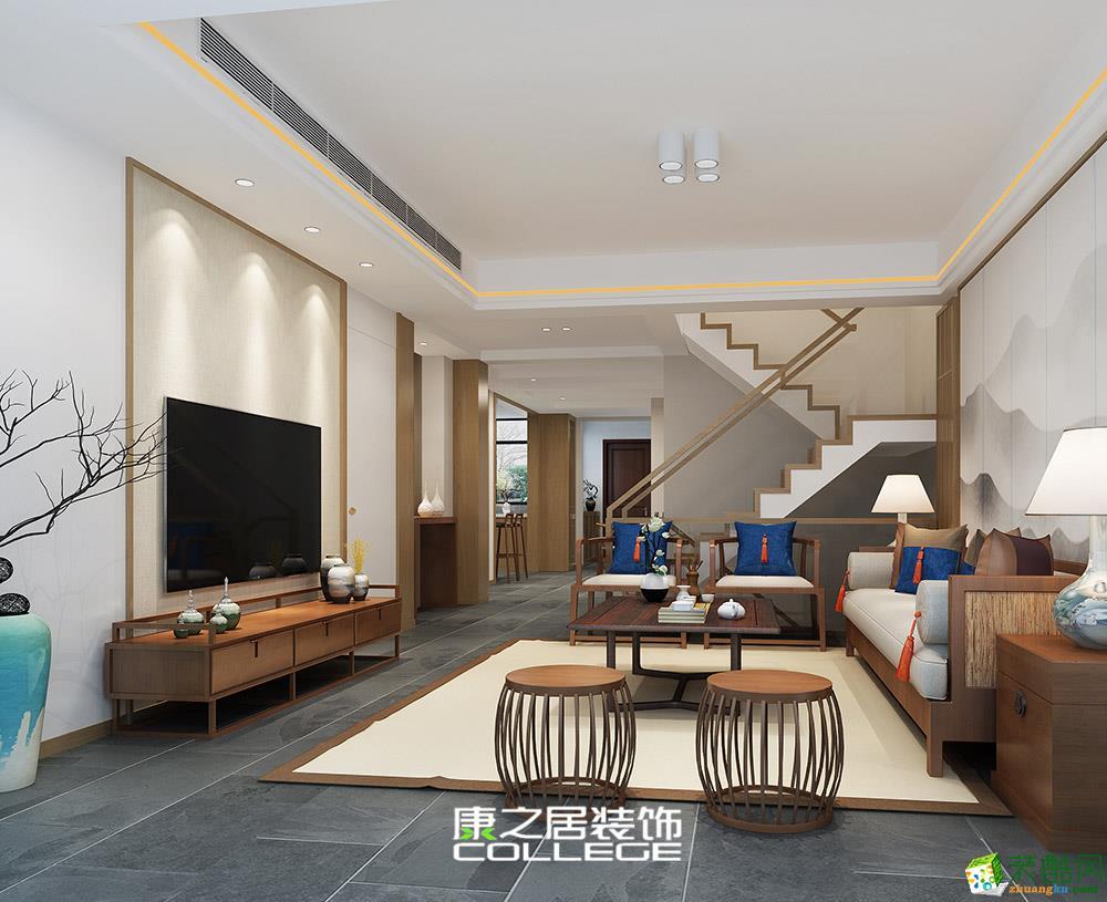 信邦龙湖时代133�O三房家装设计新中式风格