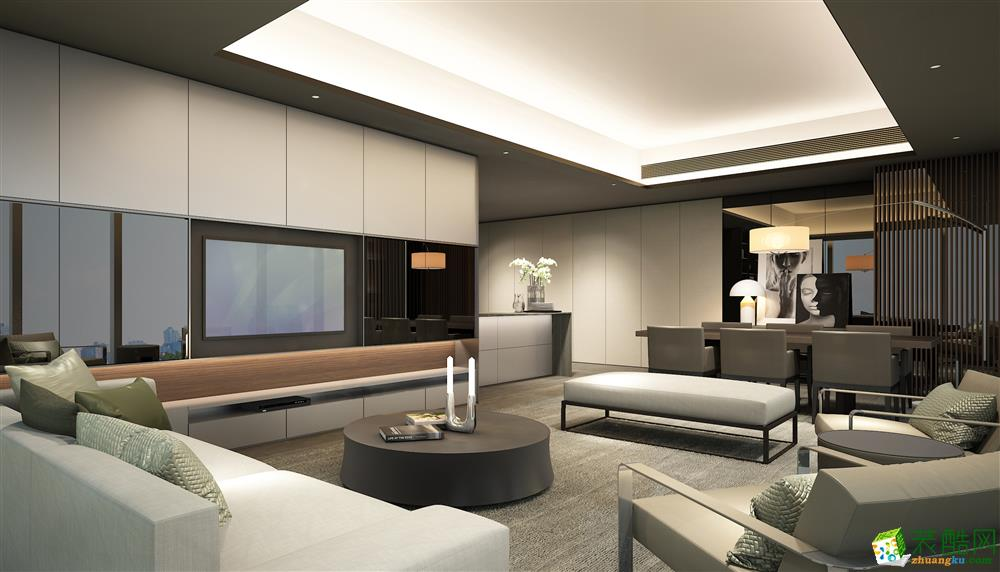 广州100平米现代风格三室两厅装修效果图