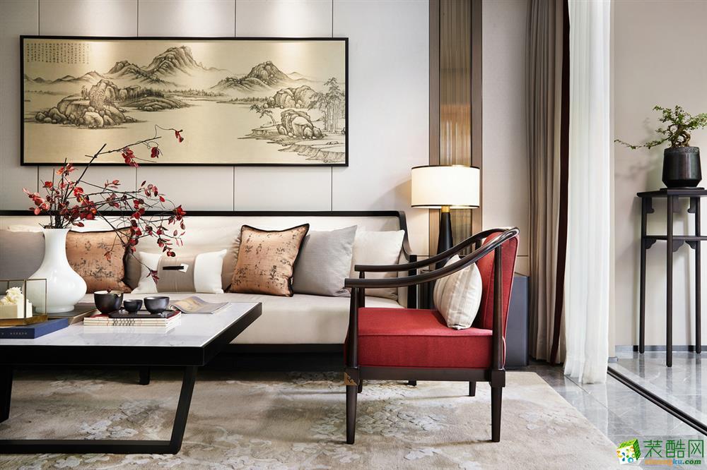 沈阳保利大都会180平三室新中式风格装修效果图