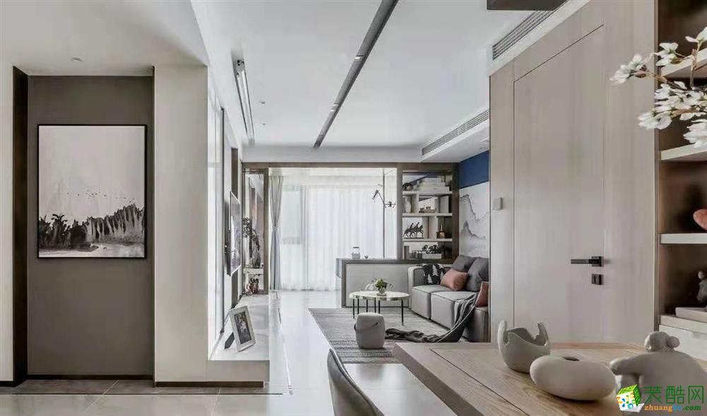 現代新中式100平米三居室裝修案例
