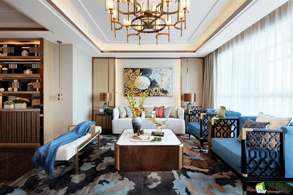 125平米三居室新中式风格装修效果图_中式风格-三室两厅两卫
