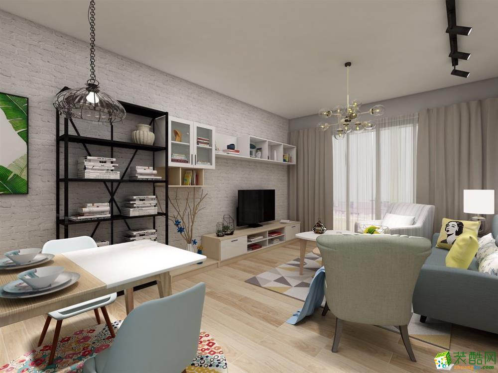 海口107平米北欧风格两室两厅装修效果图