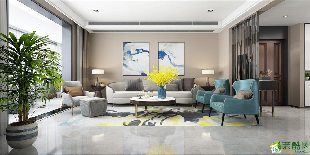 西安紫金城150平米現代風格三室兩廳兩衛裝修效果圖片