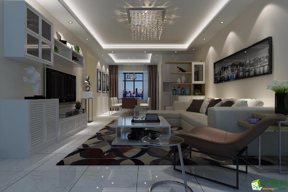 廣州120平米現代風格三室兩廳裝修效果圖