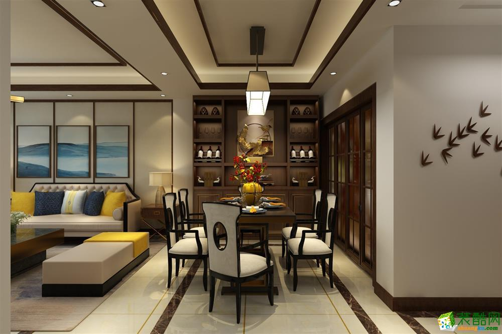 益陽市資陽區金水陽光140平米新中式風格四居室裝修效果圖