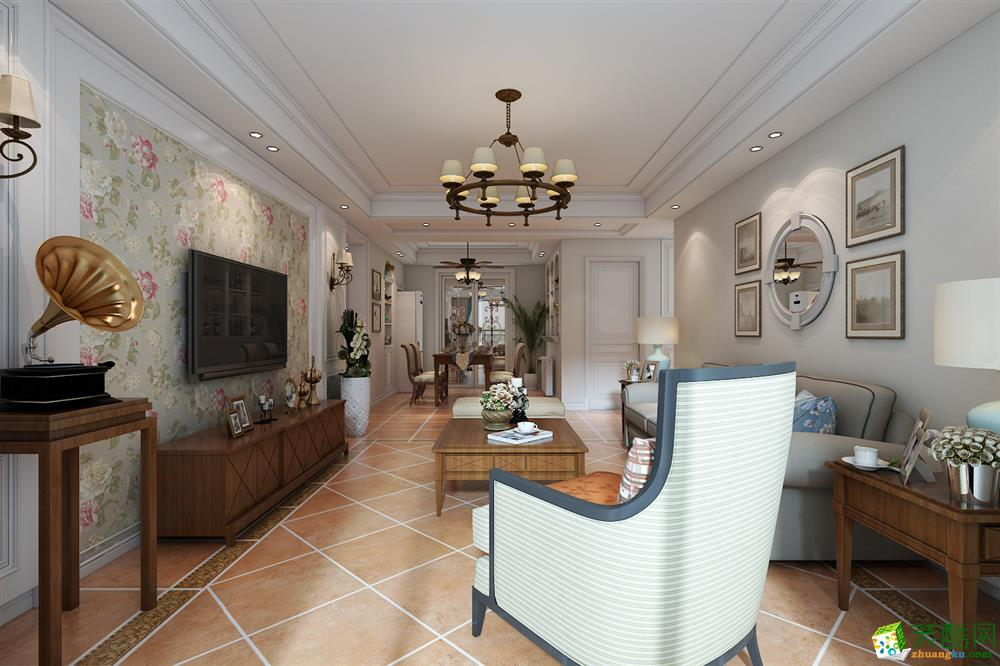 萬科藍山120平三居室美式風格設計