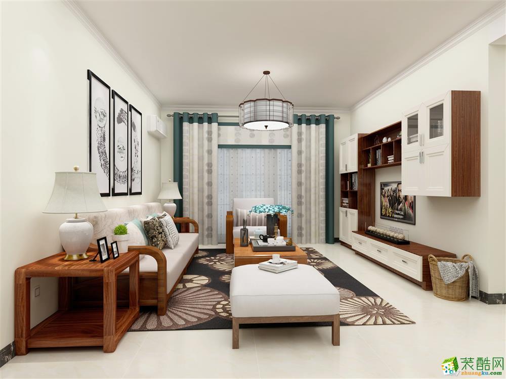 廣州89平米新中式風格三室兩廳裝修效果圖