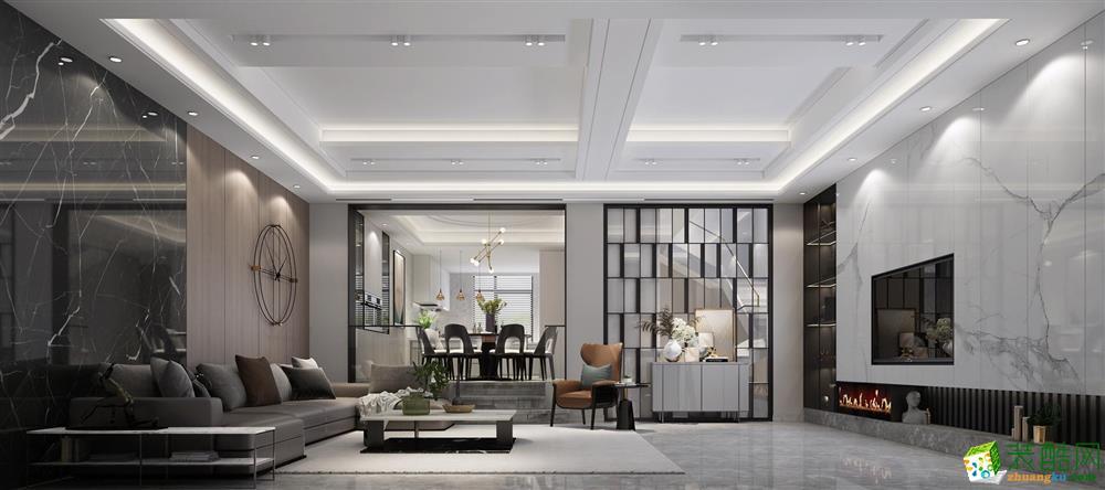 蘇州子時別墅裝飾-綠洲華庭現代風格案例
