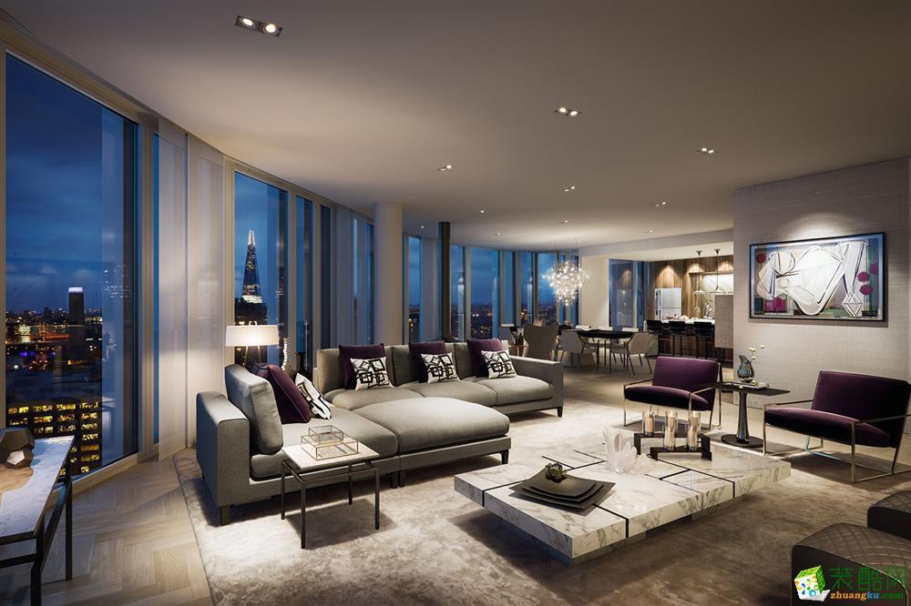 廣州150平米三居室簡約風格公寓裝修效果圖