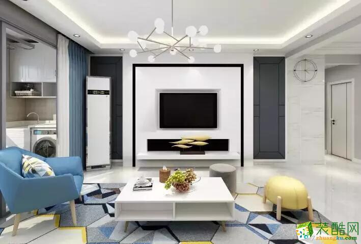 廣州118平米現代簡約風格三室兩廳裝修效果圖