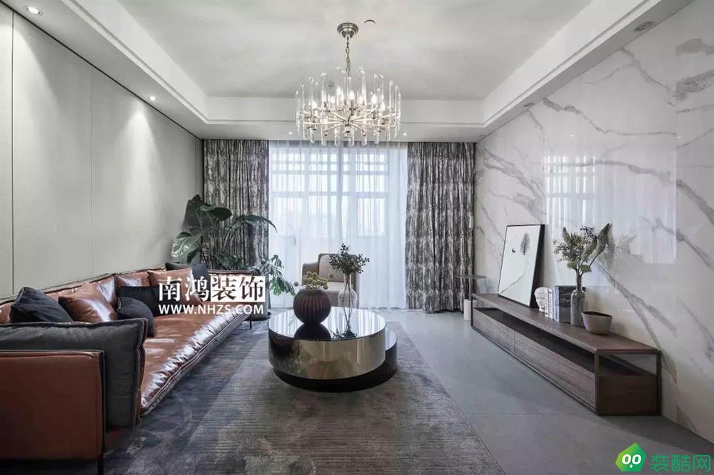 |南鴻裝飾|89方現代輕奢風格樣板間_中式風格-兩室兩廳一衛