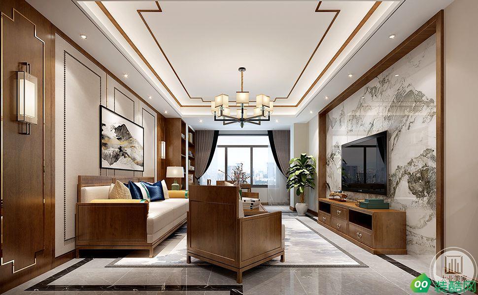 【大业美家?#23458;?#23612;斯水城十街区140平新中式风格装修效果图