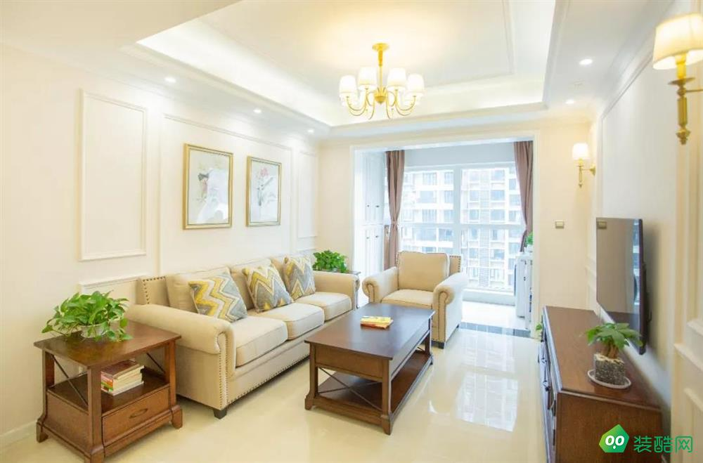 重慶89平米美式風格三居室裝修案例圖片-港宏裝飾