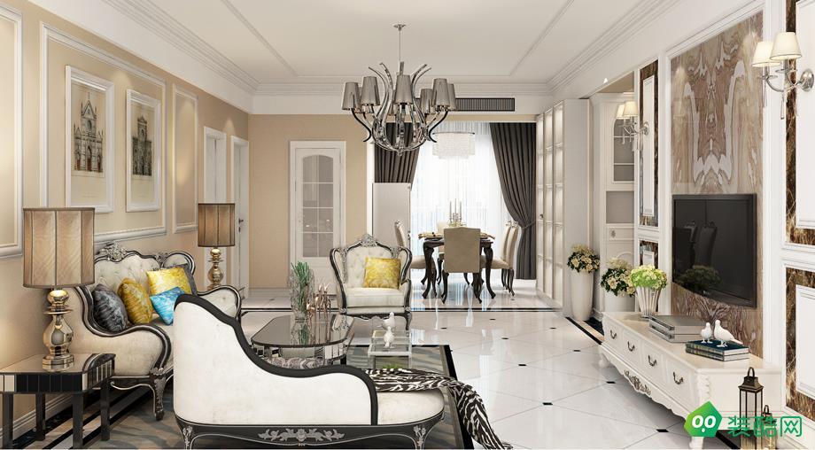 海口125平米簡歐風格三室兩廳裝修案例圖片