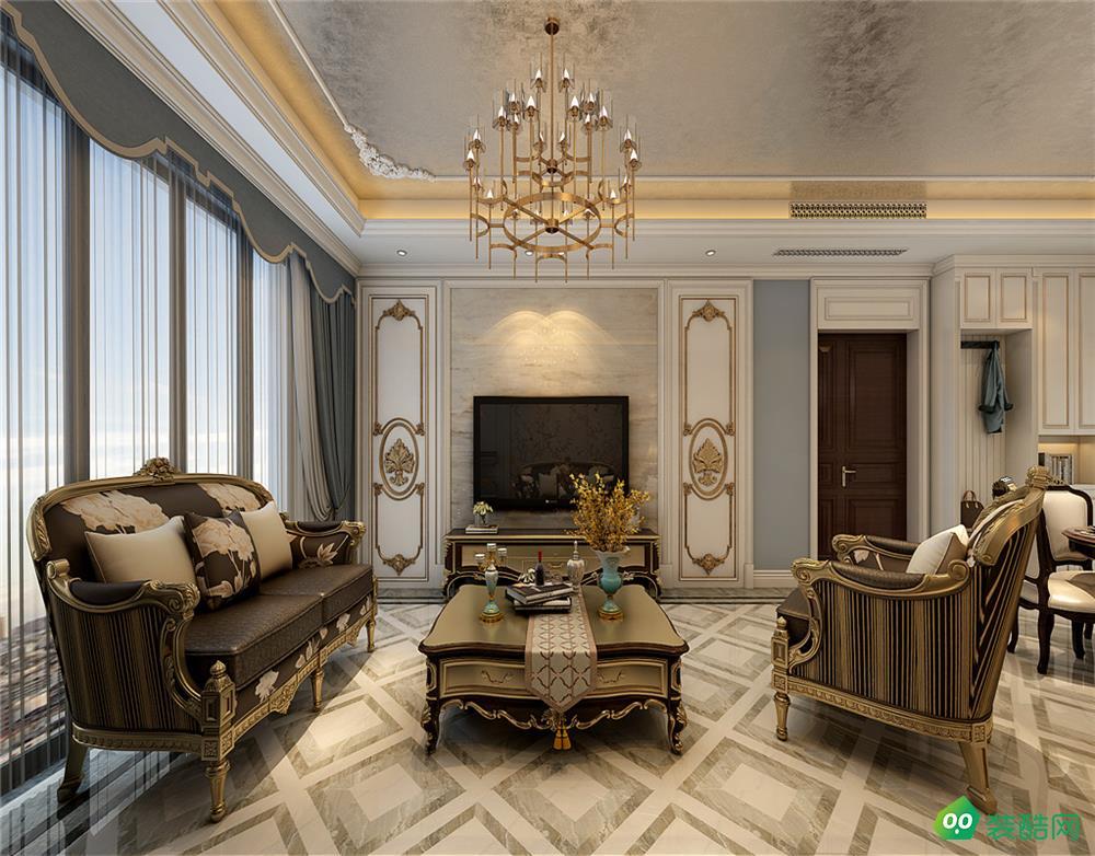 雍錦半島、歐式、140平米、三室兩廳裝修效果圖